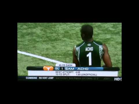 Dontay Moch 4.44  40-yd dash, Sam Acho runs 4.68 at combine 2011