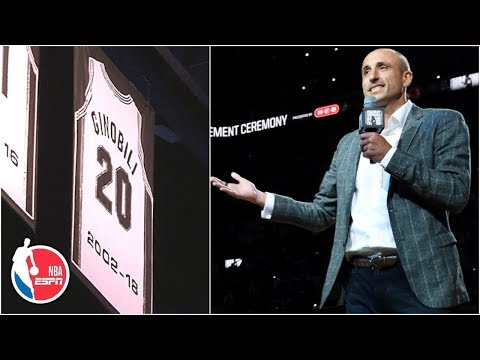 Spurs retire Manu Ginobili's jersey as former teammates, Gregg Popovich share stories | NBA Sound thumbnail