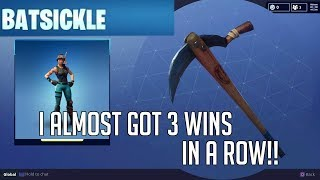 Fortnite I Almost Got 3 Wins In A Row!! Snorkel Ops Skin and Batsickle Harvesting Tool Gameplay!!