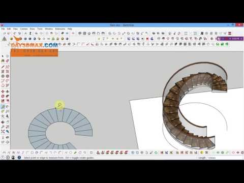 How to draw a spiral stair in sketchup, cách dựng cầu thang xoắn  bằng plugin shape bender