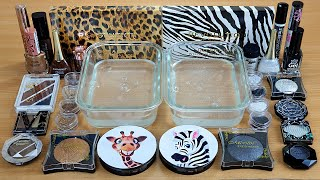 GIRAFFE vs ZEBRA SLIME Mixing makeup and glitter into Clear Slime Satisfying Slime Videos