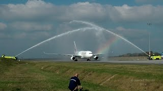 Emirates Airbus A330 Inaugural Flight to Budapest - Water Salute with Rainbow