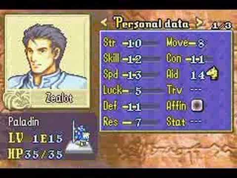 Fire Emblem Fuuin no Tsurugui - Character List