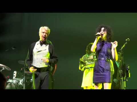 David Byrne and St Vincent performing