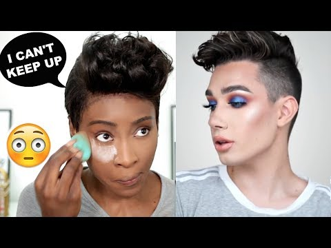I TRIED TO KEEP UP WITH A JAMES CHARLES MAKEUP TUTORIAL & SEE WHAT HAPPENED LOL