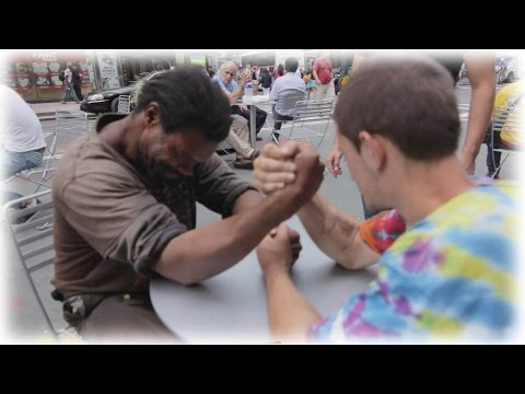 Thumbnail: Making Homeless Guys Arm Wrestle For Money!