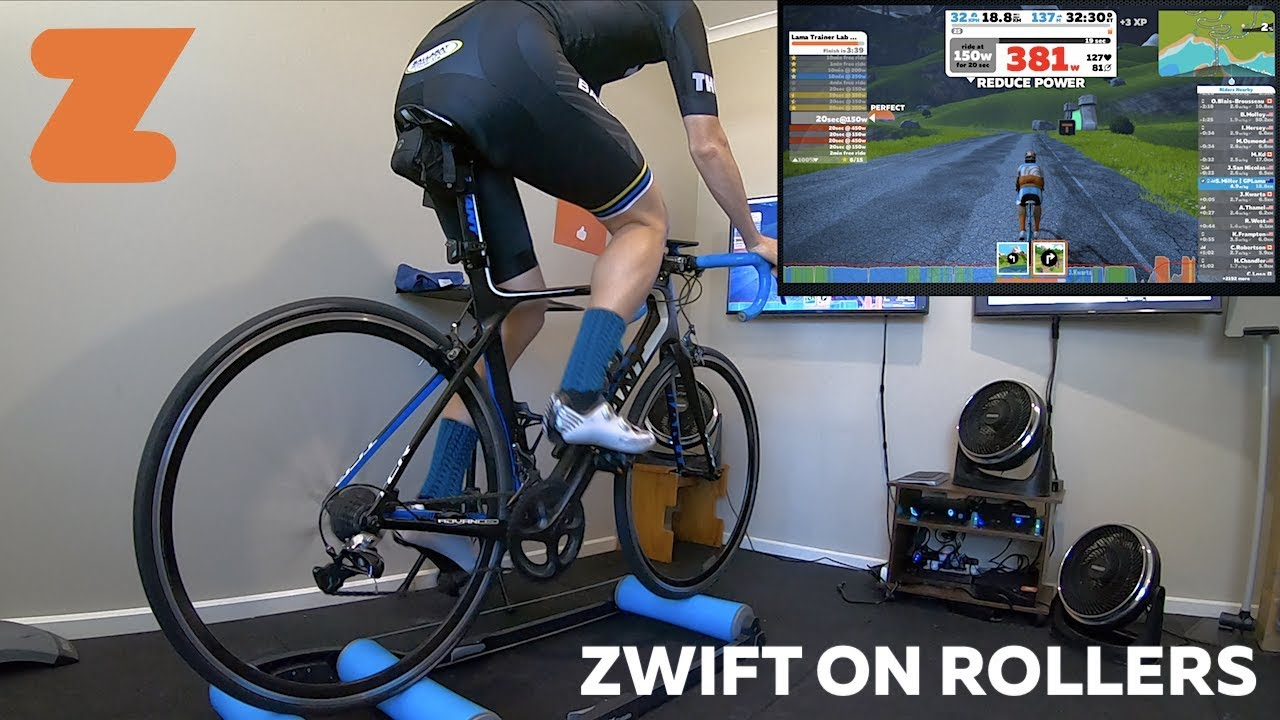 Zwift on Basic Rollers (with a Speed and Cadence Sensor)