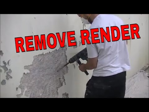 HOW I REMOVE OLD RENDER FROM CONCRETE BLOCK WALL HACK OF PLASTER AND RENDER ready for re plastering