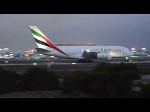 Emirates EK 217 DXB-LAX Airbus 380, A6-EOG, 25 August 2016 arrival at LAX