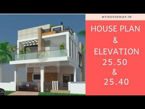 25x50 25x40 House Plan Elevation Youtube