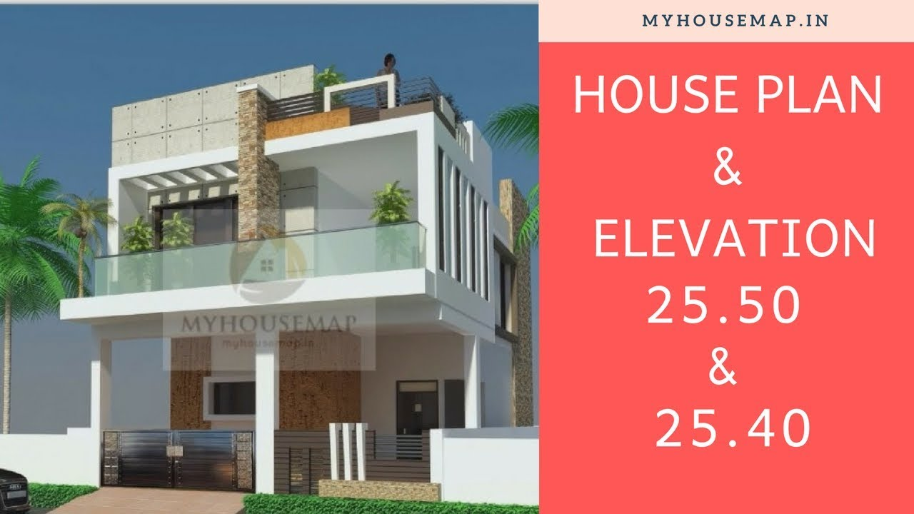 25x50 25x40 House Plan Elevation