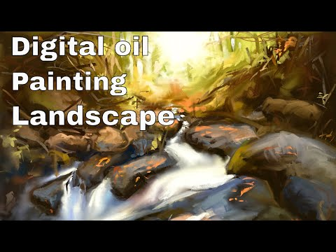 "Digital oil painting landscape ""Forest brook"" [ speedpaint ]"