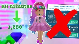 How To Get LOTS OF DIAMONDS WITHOUT GAMEPASSES or ROBUX! Royale High