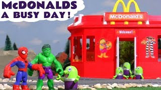 McDonalds Drive Thru fun with Hulk Spiderman Thomas Train and funny Funlings TT4U