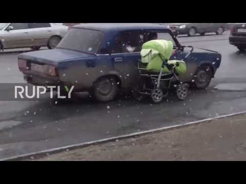 Russia: When childcare goes full Top Gear – Passenger pulls baby carriage from moving car