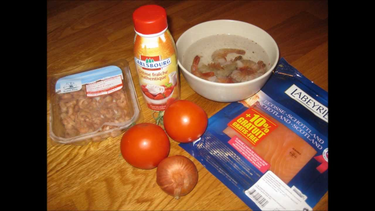 Pates Au Scampis Crevettes Saumon Fume Sauce Tomatee Youtube