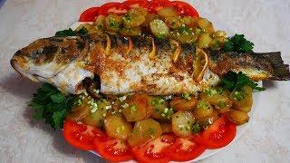 Ужин на ВСЮ СЕМЬЮ ЗАПЕЧЕННЫЙ карп фаршированный грибами Рыба в духовке с картошкой Блюда из рыбы