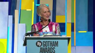 Helen Mirren accepting a Gotham Tribute at the 2015 Gotham Independent Film Awards