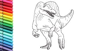 How to Draw the Spinosaur - Drawing And Coloring Jurassic World Dinosaurs For Children