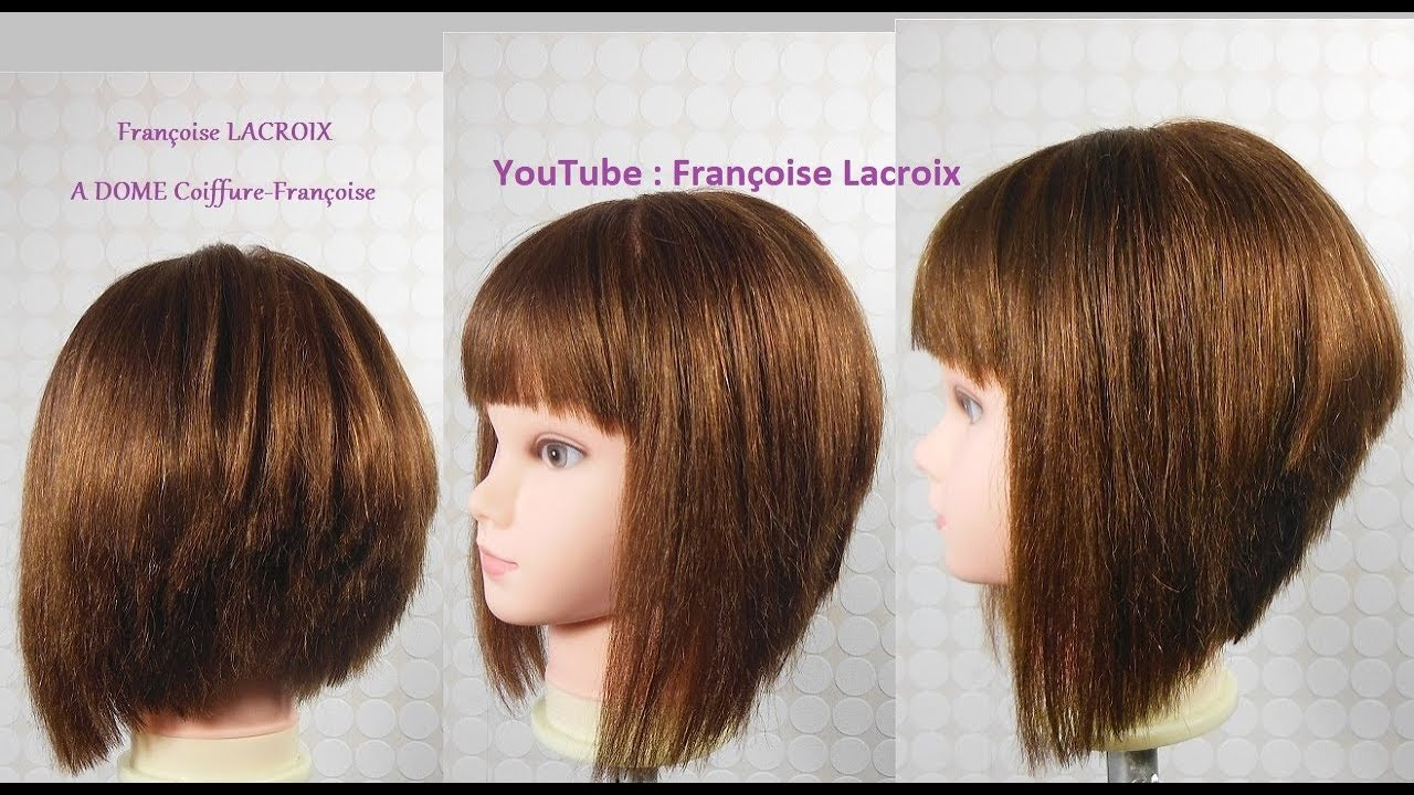 Coupe Carré Plongeant Dégradé Frange Layered A Line Bob Haircut