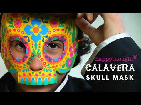 DIY paper calavera skull mask tutorial and template: Make a homemade costume for Day of the Dead!