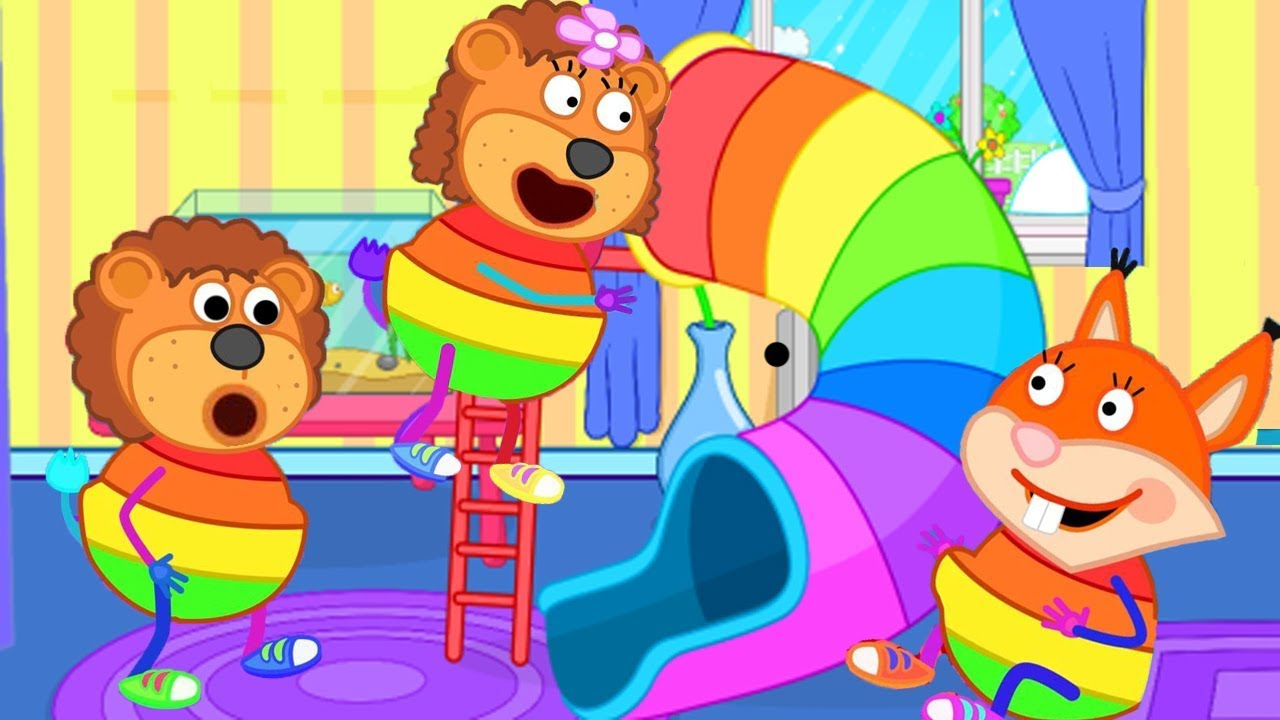 Lion Family Fun on the Rainbow Children's Slide Cartoon For Kids