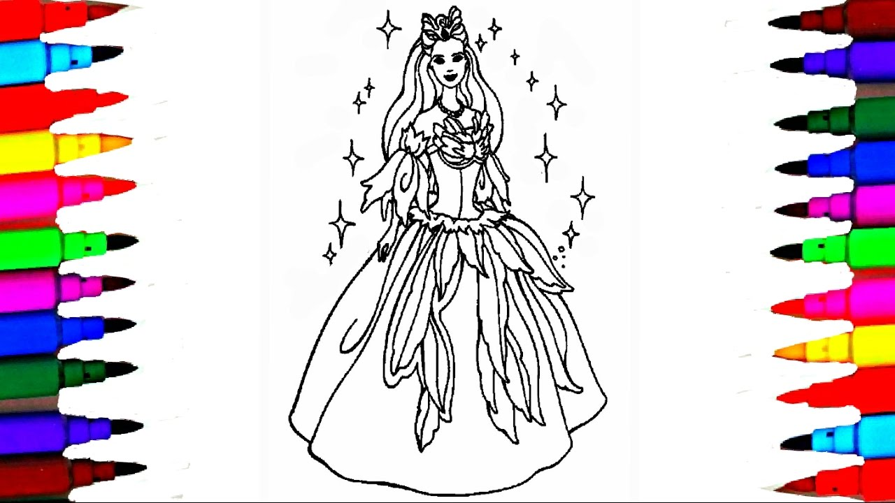 Girls Barbie Princess Coloring Pages L And Ken Drawing Brilliant Kids Videos