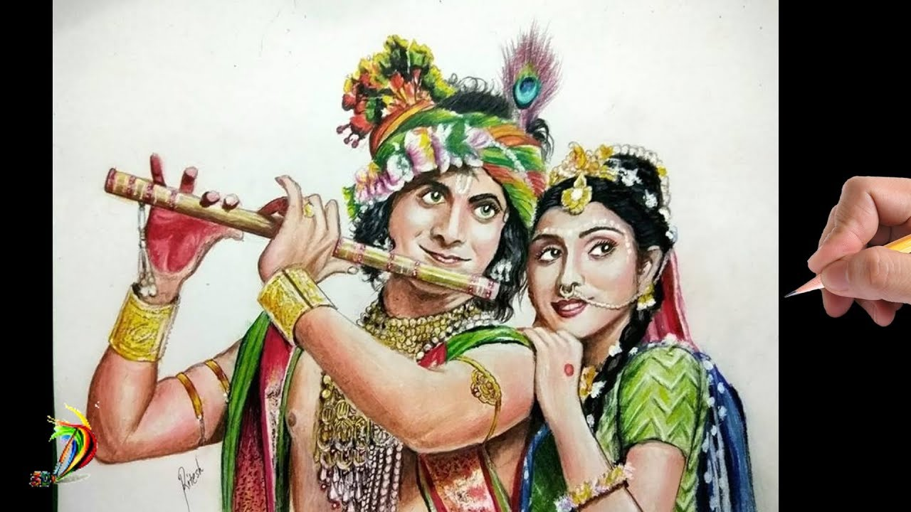 Amazing Radha Krishna Drawing Drawing Sumedh Mudgalkar And Mallika