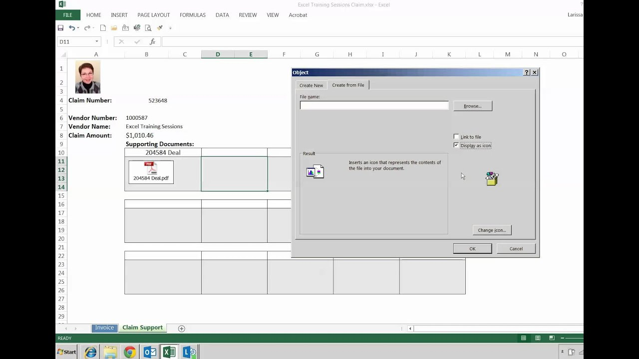 Excel Tutorial: How To Attach A PDF File Into Excel File