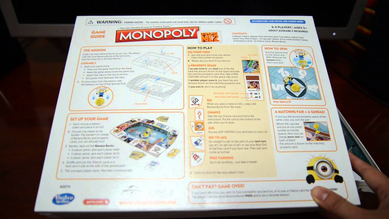 Despicable Me 2 Minion Monopoly Unboxing Youtube