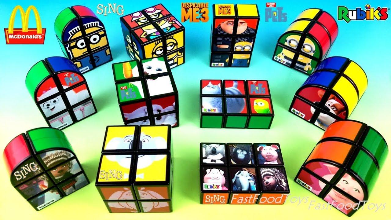 2018 Full World Set Mcdonalds Rubiks Cube Happy Meal Toys Sing Despicable Me 3 Secret Life Pets 20
