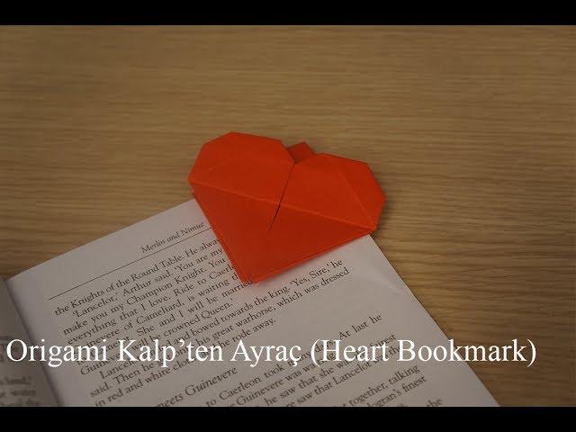 Origami Kalpten Ayraç (Heart Bookmark)