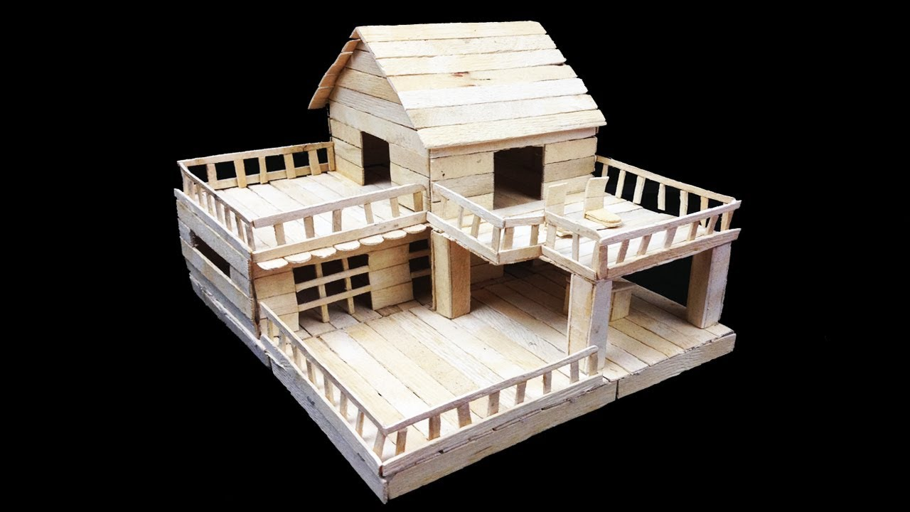 HOW TO MAKE POPSICLE STICK HOUSE || KIDS DIY