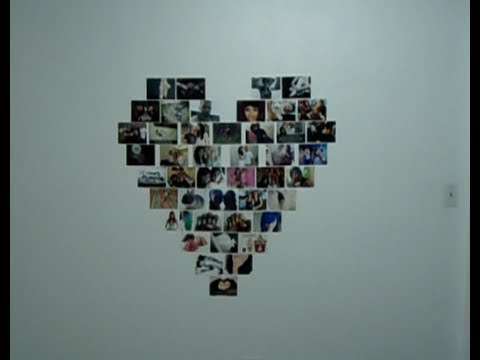 Diy collage en forma de corazon youtube - Collage de fotos para pared ...
