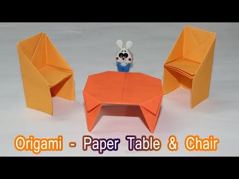 How to make a Paper Table ? - Dollhouse furniture - Paper Chair & Table - Origami tutorial for Kids