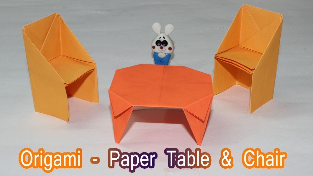 How To Make A Paper Table Dollhouse Furniture Chair Origami Tutorial For Kids