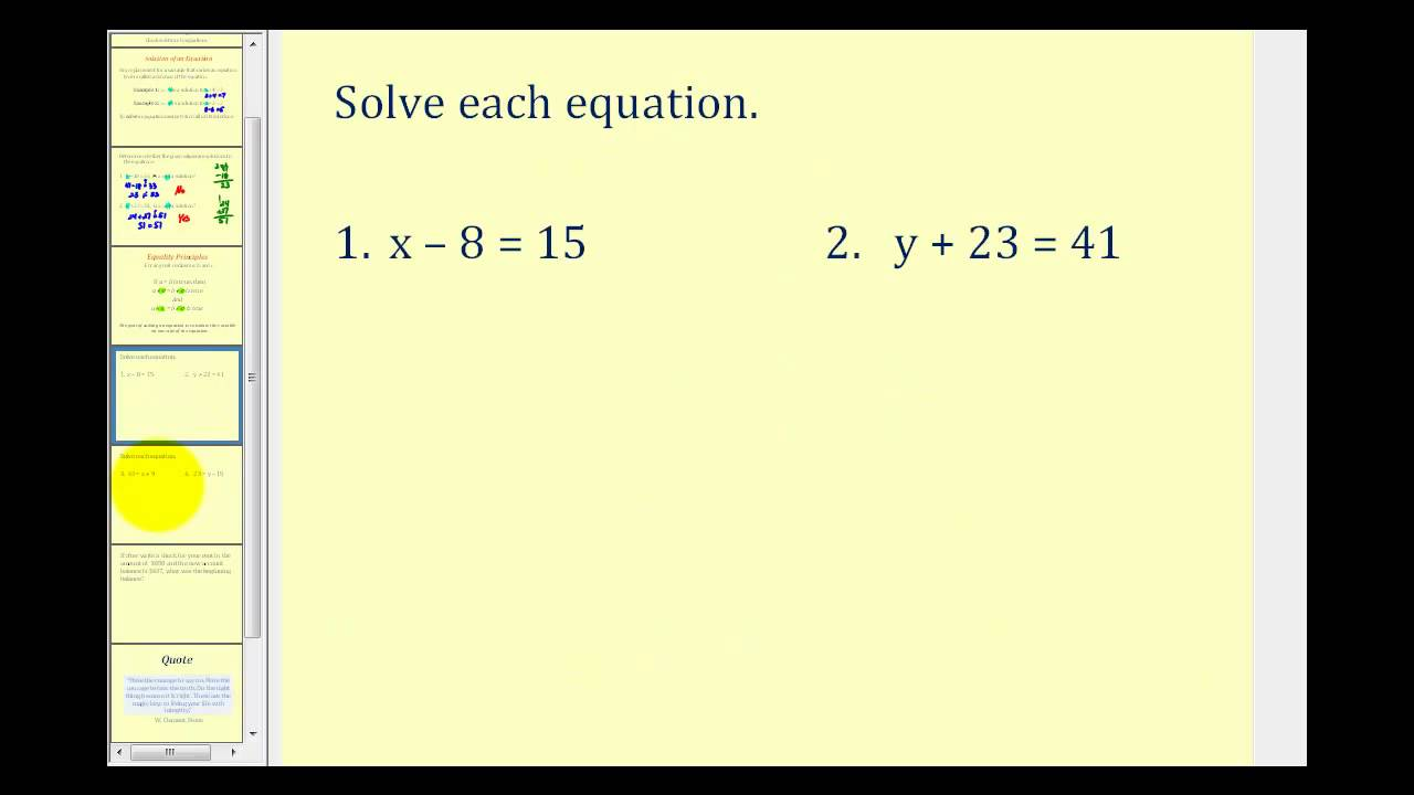 Solving One Step Equations By Addition And Subtraction Youtube