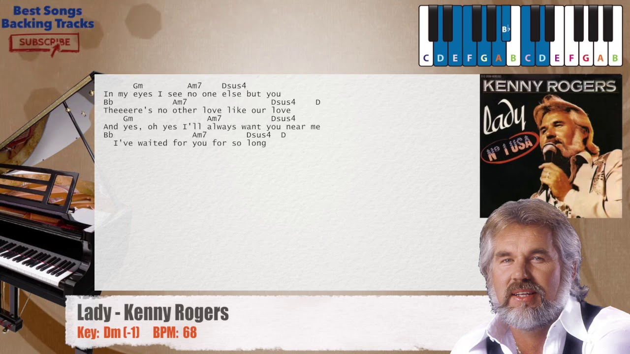 Lady Kenny Rogers Piano Backing Track With Chords And Lyrics Youtube