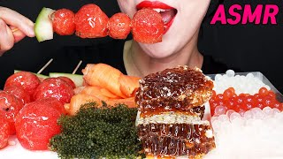 MOST POPULAR FOOD FOR ASMR PART2 *Tanghulu Seagrapes Honeycomb Salmon Poping boba NO TALIKING