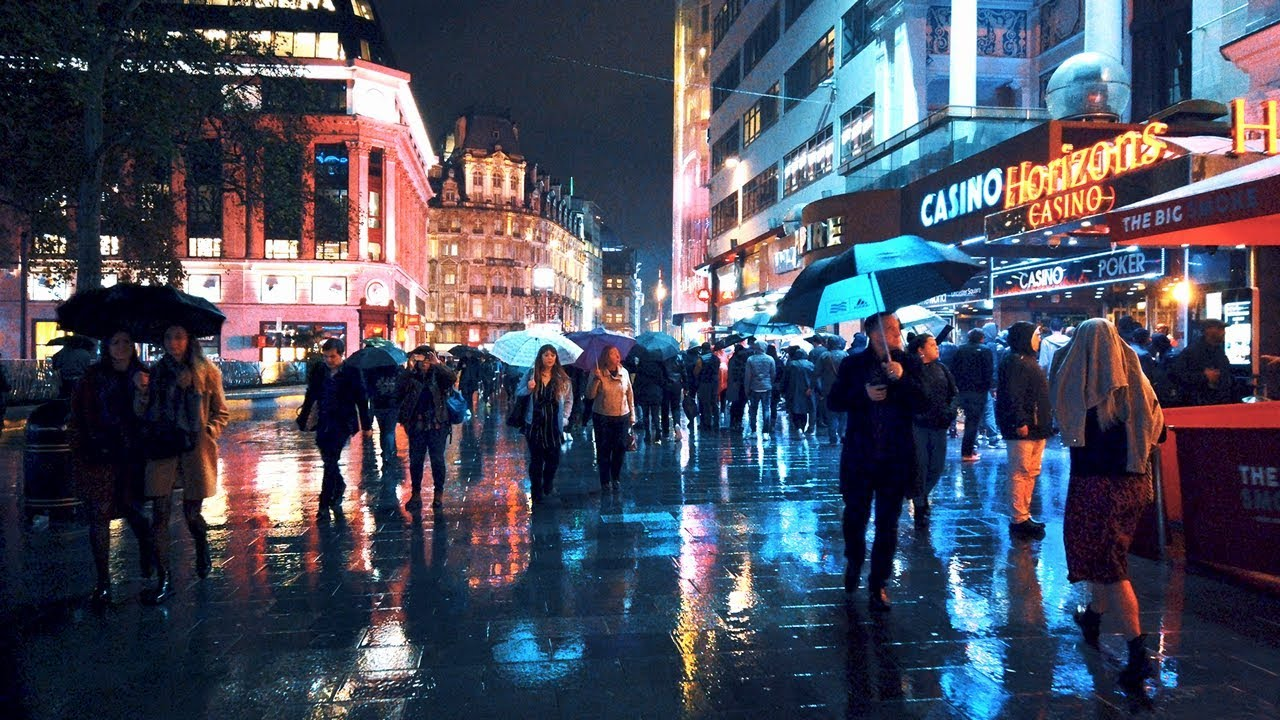 Walking London's West End in the Rain - Saturday Night City Ambience -  YouTube