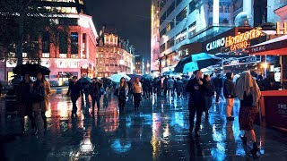 Walking London's West End in the Rain - Saturday Night City Ambience
