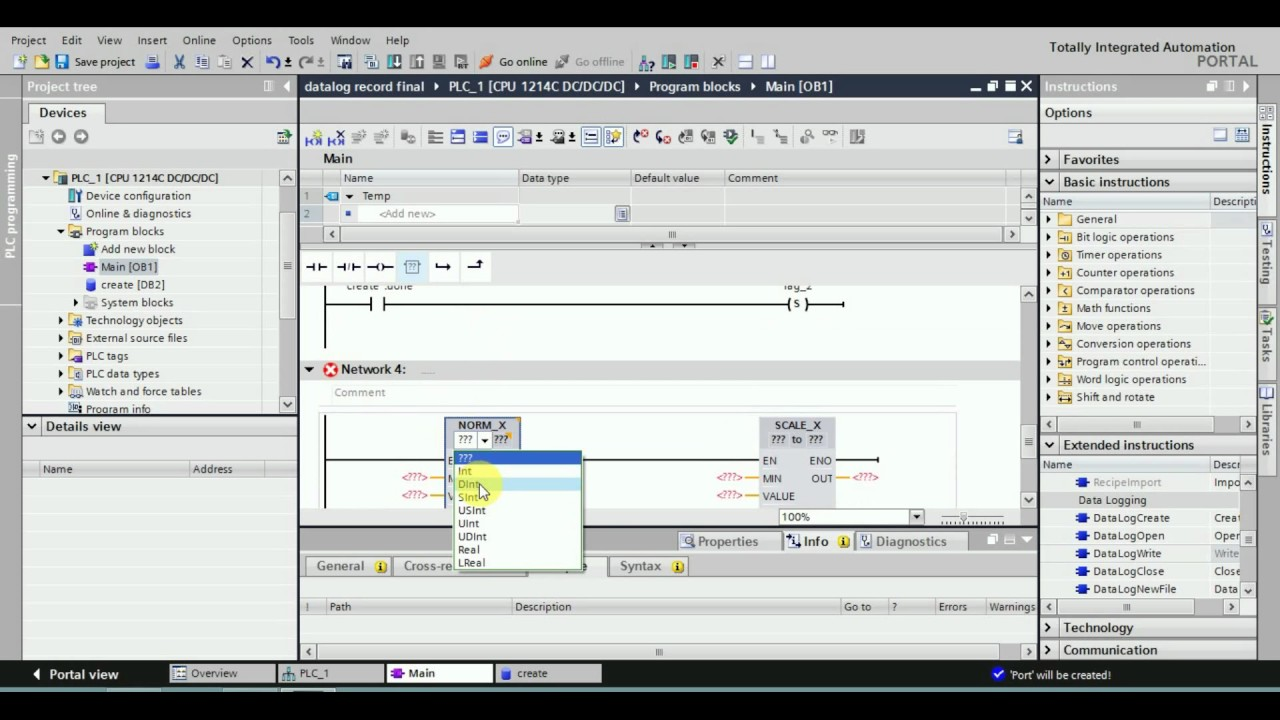 S7-1200 Data logging Siemens PLC