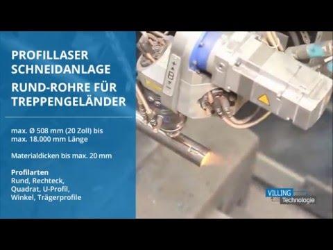 VILLING Technologie - Profillaser Schneidanlage - Rund-Rohre für Geländerpfosten - Laser Clip