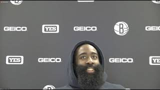 James Harden Postgame; Nets beat the Pistons