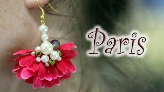 Especial Verão: Brinco flor de tecido com pérolas e cristais