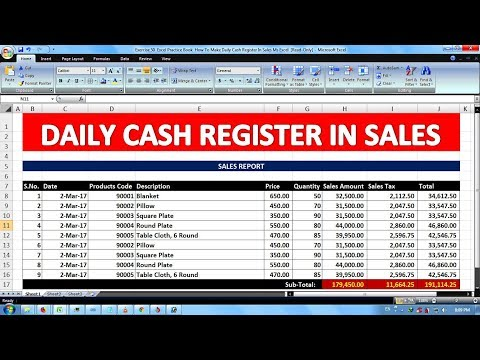 exercise 50 excel practice book how to make daily cash register