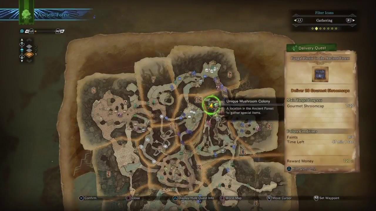 Gourmet Shroomcap Locations Monster Hunter World Youtube