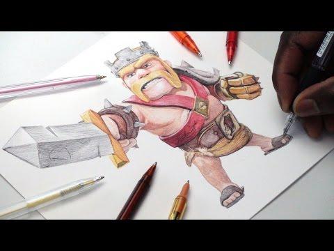 Barbarian King Pen Drawing - Clash of Clans - DeMoose Art