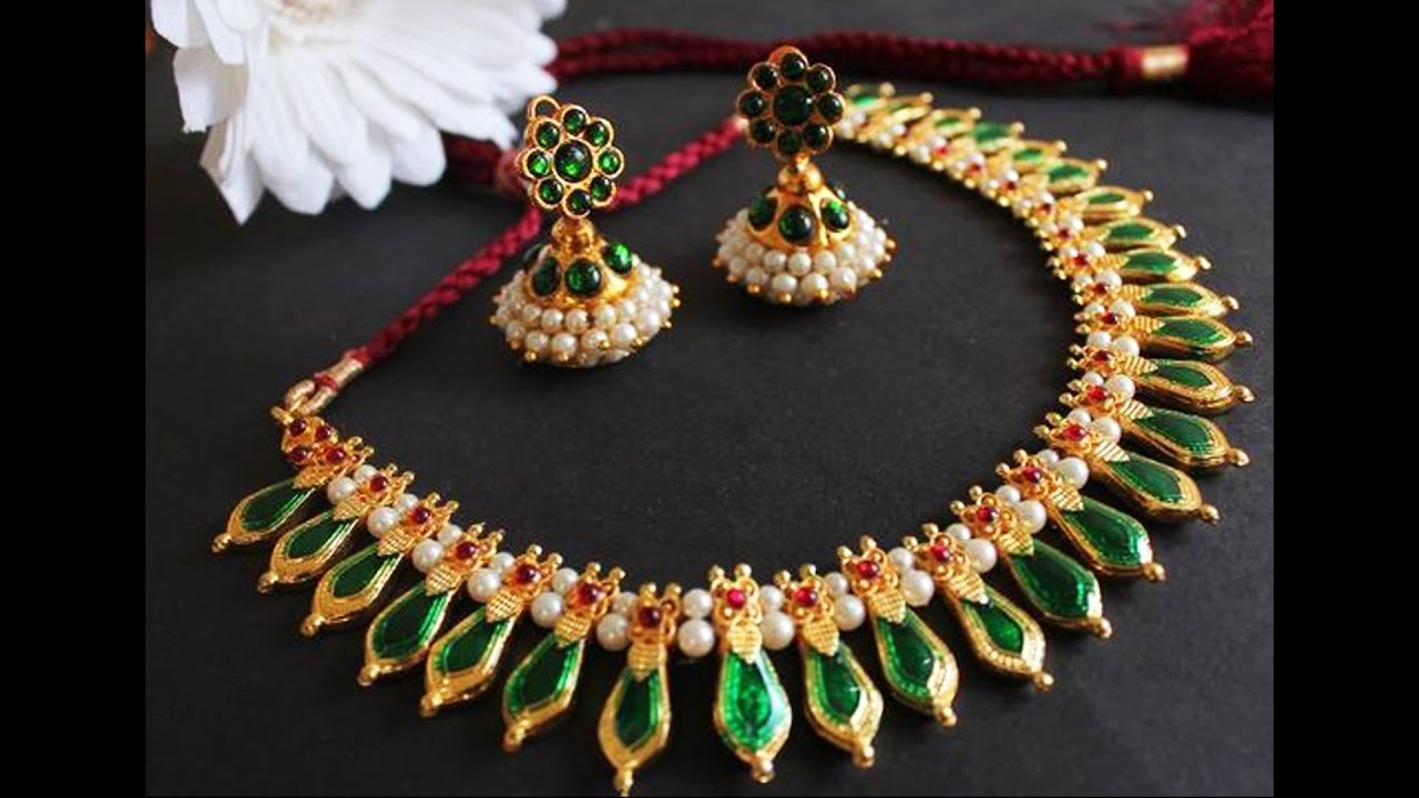 Traditional Gold Palakka Necklace Designs - YouTube
