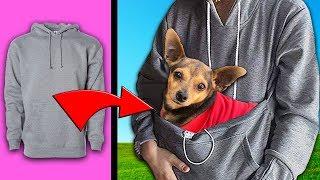 Testing Viral DIY Life Hacks and Crafts for Dogs!  Sweatshirt Hack Works   PawZam Dog